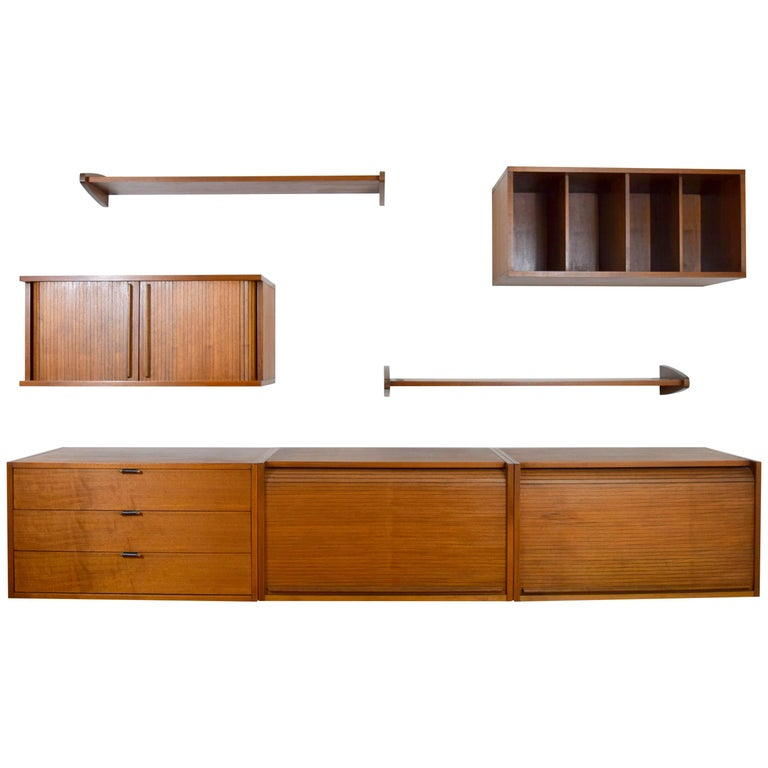Midcentury Floating Walnut Wall Unit 1