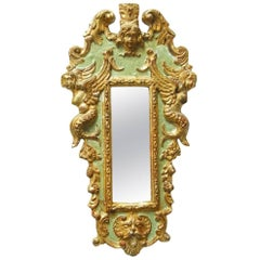 19th Century Italian Carved Neoclassical Silver Leaf Mirror