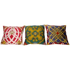 Set of Three Authentic Hermes Two Side Silk Cushion Pillows