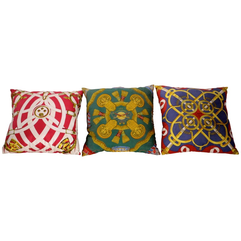 Set of Three Authentic Hermes Two Side Silk Cushion Pillows For Sale