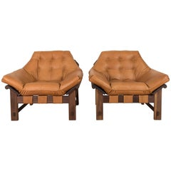 Pair of Ojai Lounge Chairs in Leather and Oiled Walnut