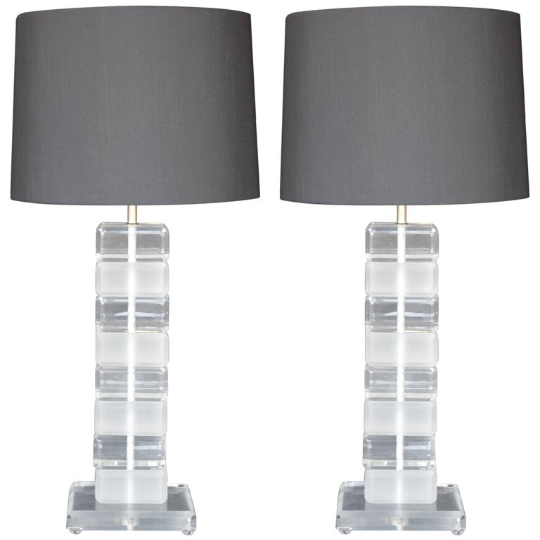 Pair of Square Lucite Table Lamps