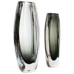Two Nils Landberg Glass Vases, Orrefors, Sweden, Scandinavian Modern