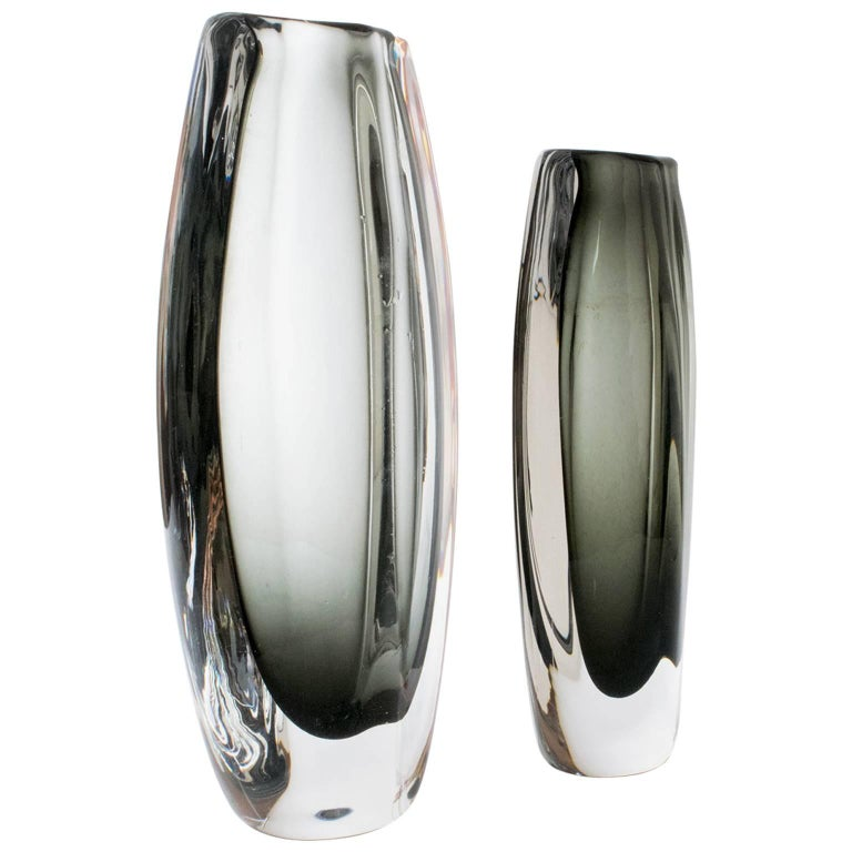 Scandinavian Modern Art Deco Etched Glass Vase By Simon Gate For