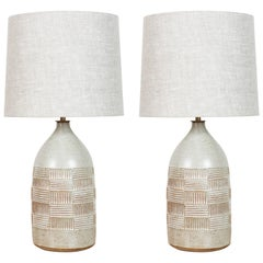 Pair of Hand-Carved Ceramic Lamps by Mt. Washington Pottery