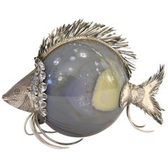 Italian 1970s Gray Agate and Silver Curiosity Objet d'Art in the Shape of a Fish