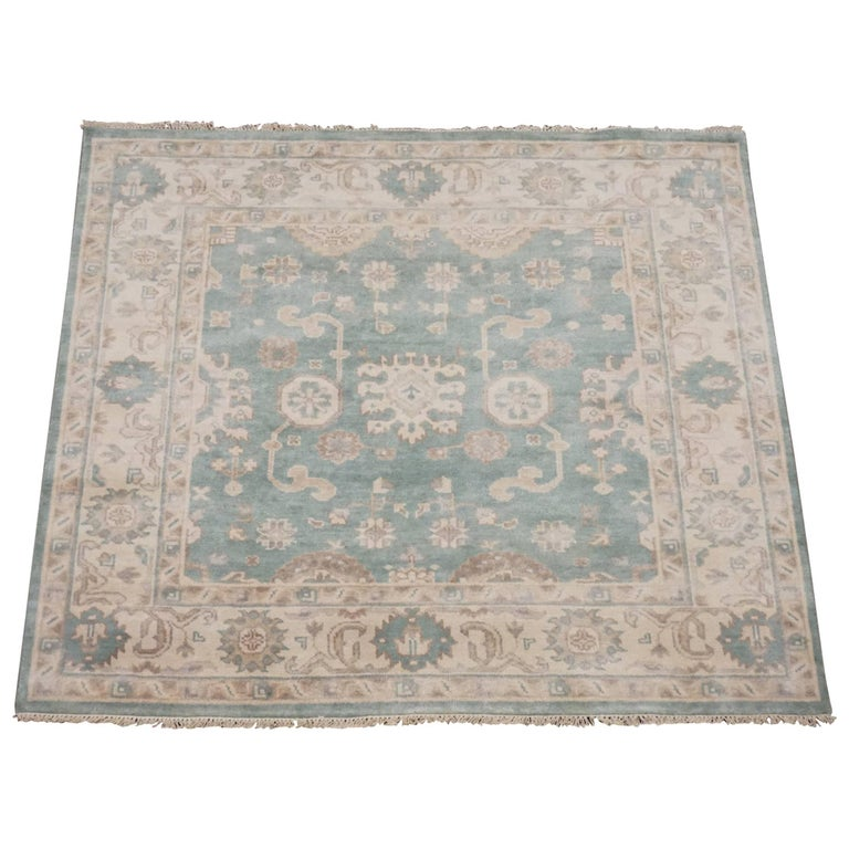 Green Square Oushak Rug For Sale At 1stdibs