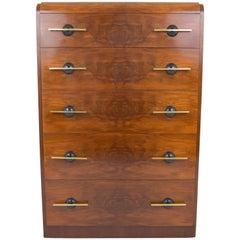 Donald Deskey Streamlined Moderne Burl Wood Chest of Drawers