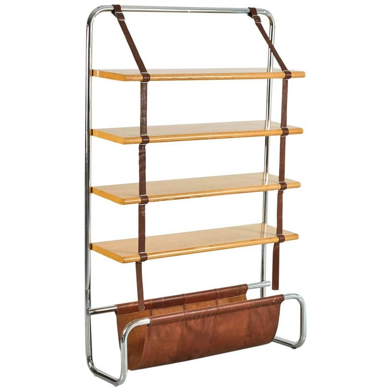 Large Leather and Oak Wall Shelf by Luigi Massoni For Sale