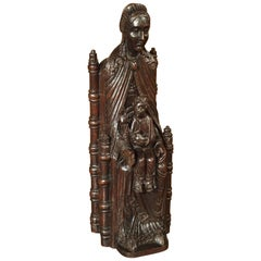 Excellent Antique Oak Carved Statue, the Throne of Wisdom