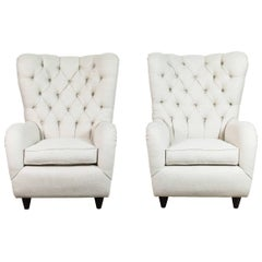 Pair of Italian Tufted Wingback Chairs
