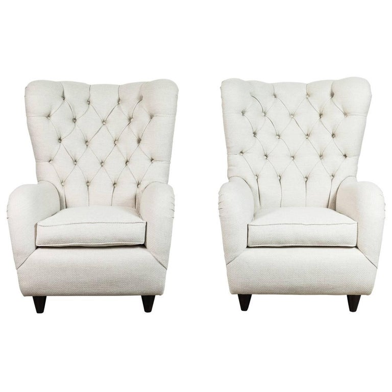 pair of italian tufted wingback chairs for sale - Tufted Wingback Chair