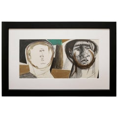 Mixed-Media Portrait of Two Men by Walter Peregoy