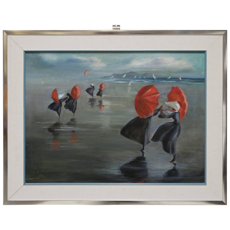 Nuns by the Shore Oil Painting For Sale