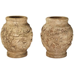 Pair of Chinese Carved Wooden Pots, Mid-1900s