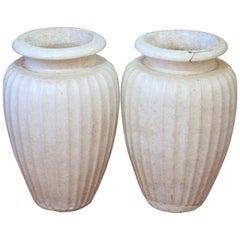 Pair of Antique Galloway Terracotta Ceramic Art Deco Pottery Garden Urn Vases
