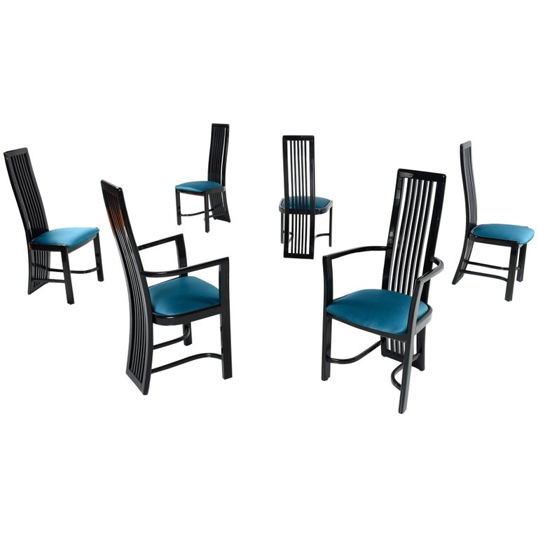 Asian Modern Black Lacquer High Back Dining Chairs Made in Spain, 1980s