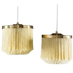 Swedish Pendants in Brass with Silk Fringes by Hans-Agne Jakobsson, 1960s