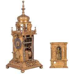 Early 17th Century Gilt Brass Table Clock, Augsburg 'South Germany', circa 1600