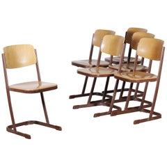 1950s, Metal and Wood Set of Six Dutch School Chairs