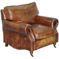 Timothy Oulton Balmoral Heritage Brown Leather Club Armchair Feather Cushions