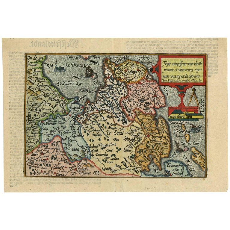 Antique Map of Friesland 'The Netherlands' by J. Bussemacher, 1596 For Sale
