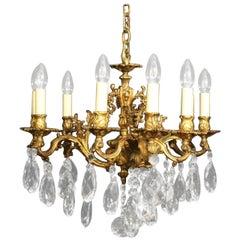 Italian Bronze and Crystal Nine-Light Antique Chandelier