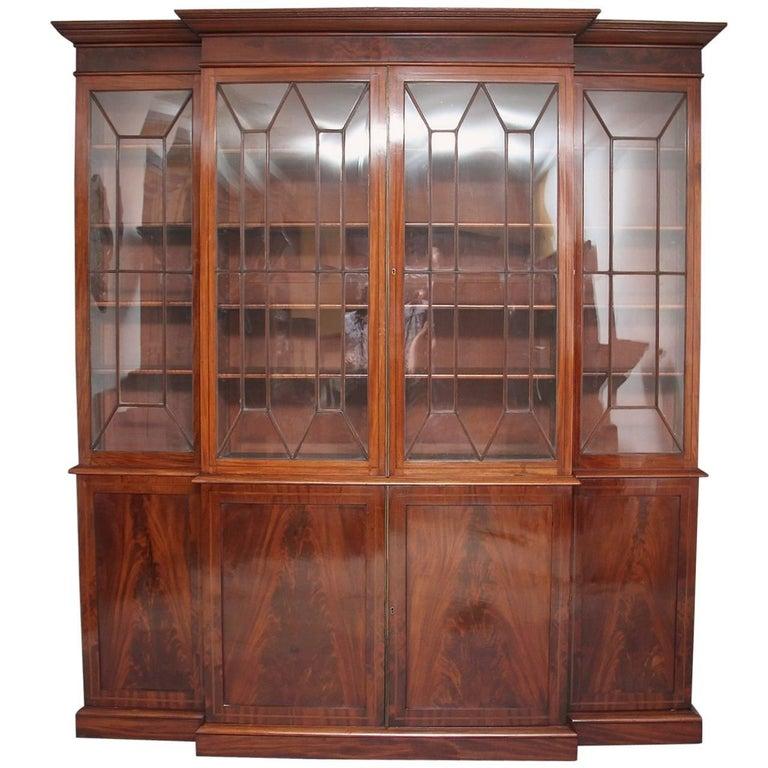 19th Century Mahogany Breakfront Bookcase For Sale