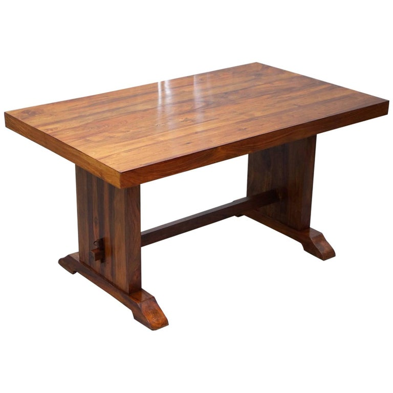 Solid Wood Dining Table Seats Six Lovely Timber Patina Rare Find Redwood