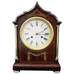 French Belle Époque Mahogany Mantel Clock with Brass Inlay