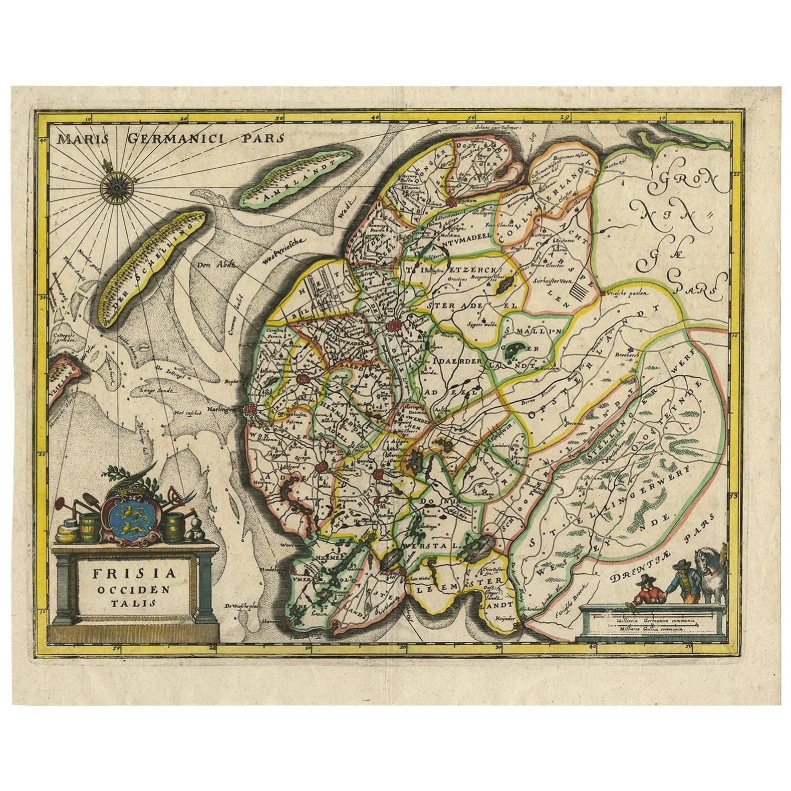 Antique Map of Friesland 'The Netherlands' by C. Merian, 1659
