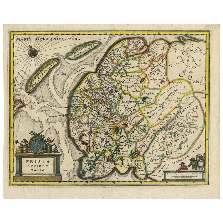 Antique Map of Friesland 'The Netherlands' by C. Merian, 1659 For Sale