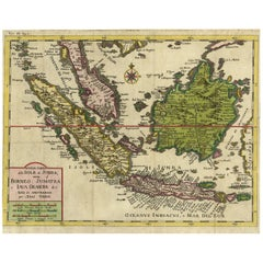 Antique Map of Borneo, Sumatra and Java 'Indonesia, Asia' by I. Tirion