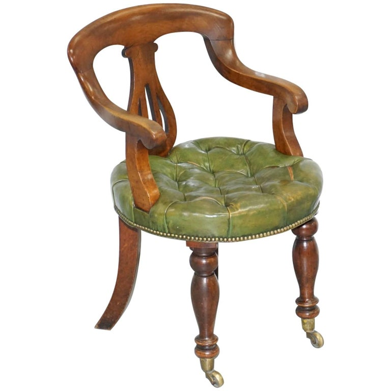 Rare Victorian Gany Framed Chesterfield Green Leather Desk Chair Hand Dyed For