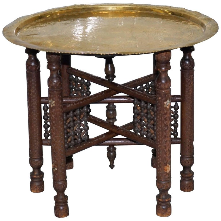 Rare Vintage Moroccan Etched Brass Round Tray Table Mother-of-Pearl Inlaid