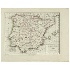 Antique Map of Spain by P.F. Tardieu, circa 1798