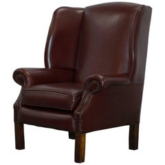 Lovely Aged Oxblood Brown / Red Height Straight Wingback Chesterfield Armchair