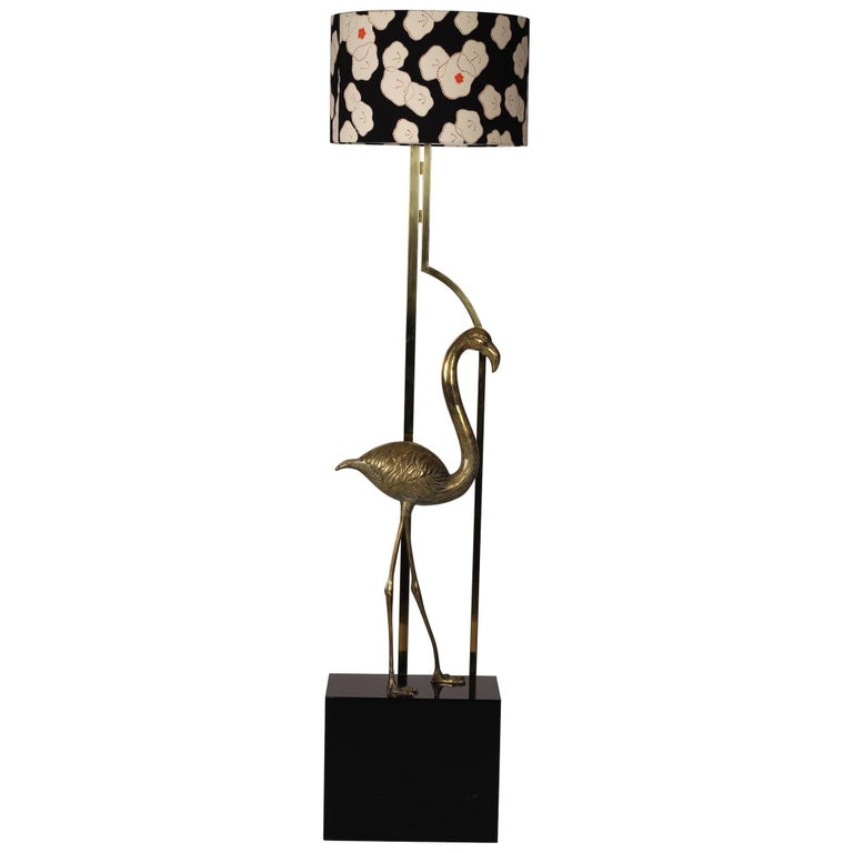 Midcentury French Brass Flamingo Floor Lamp in the Style of Maison Charles
