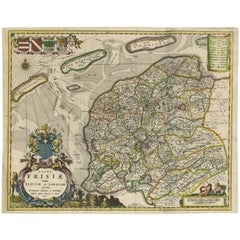 Antique Map of Friesland 'The Netherlands' by B. Schotanus, 1664
