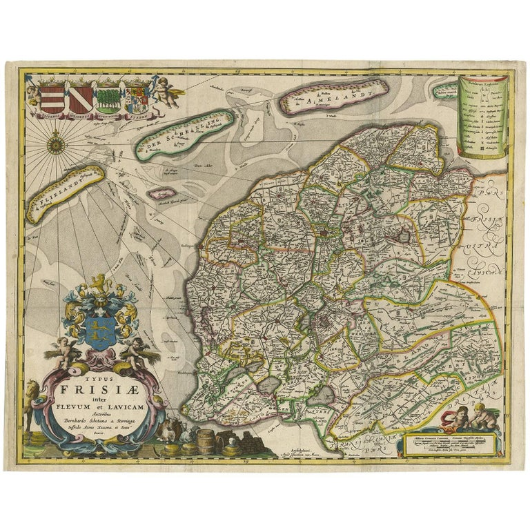 Antique Map of Friesland 'The Netherlands' by B. Schotanus, 1664 For Sale
