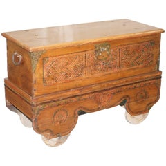Stunning Large Indian Carved Wood Travelling Trunk Chest on Wheels Handmade