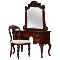 Lovely Solid Carved Mahogany French Louis Style Dressing Table Mirror and Chair