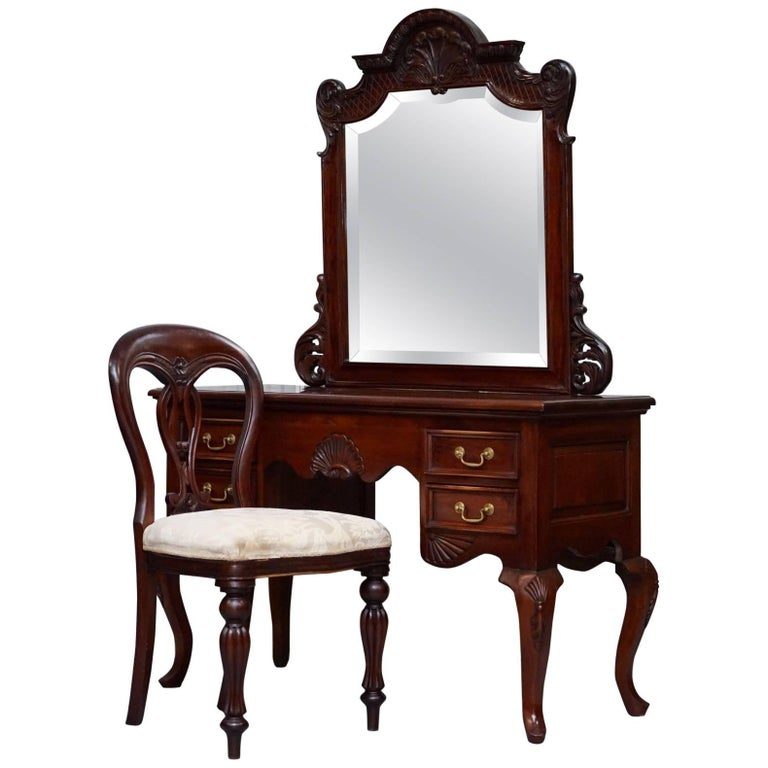 Lovely Solid Carved Mahogany French Louis Style Dressing Table Mirror And Chair For