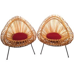 Pair of Janine Abraham and Dirk Jan Rol Basketware Lounge Chairs