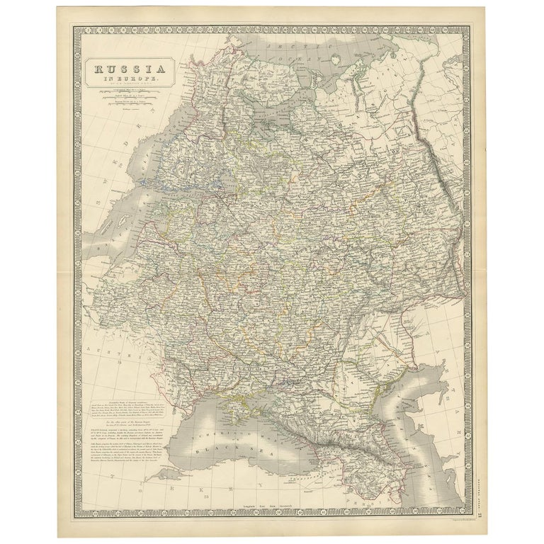 Antique Map of Russia 'in Europe' by W. & A.K. Johnston, circa 1850 For Sale
