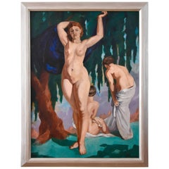 Large French Art Deco Painting with Three Bathing Nudes by P. Villemain, 1931