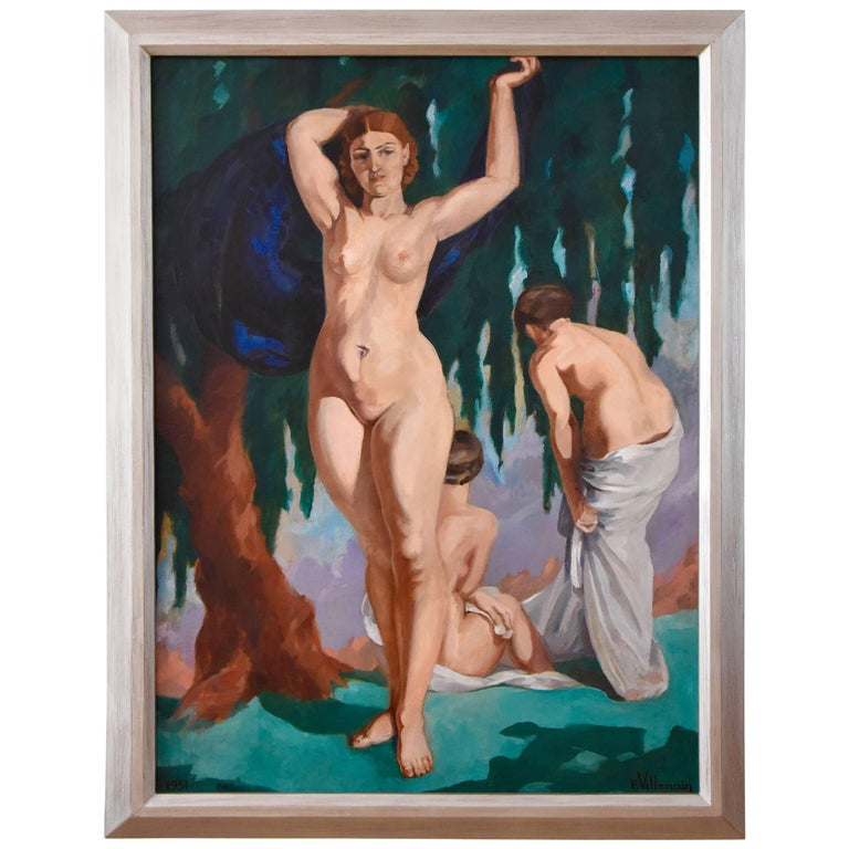 Art Deco Painting with Three Bathing Nudes by P. Villemain, 1931 France