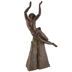 Art Deco Bronze Sculpture of a Nude by Pierre Le Faguays, 1940 France