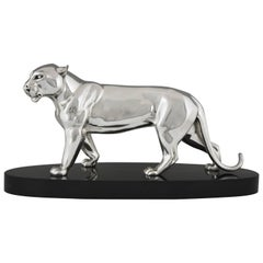 Art Deco Silvered Bronze Sculpture of a Panther by Irenee Rochard, 1930