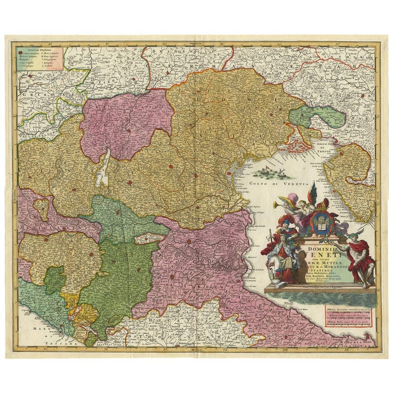 Antique Map of Northern Italy by J.B. Homann, circa 1745